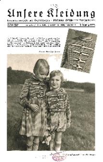 Unsere Kleidung : Vierteljahreshefte mit Schnittbogen-Kleidung Wäsche und Handarbeiten, 1938, H. 1.