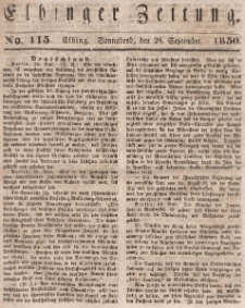 Elbinger Zeitung, No. 115 Sonnabend, 28. September 1850