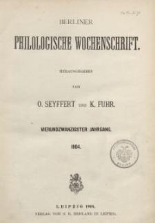 Berliner Philologische Wochenschrift, 1904