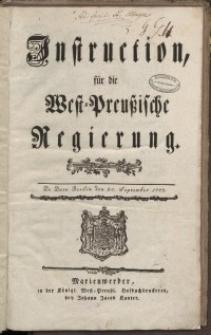 Instruction für die West-Preussische Regierung