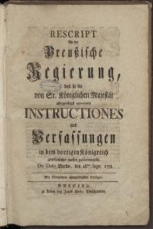 Rescript an die Preussische Regierung...