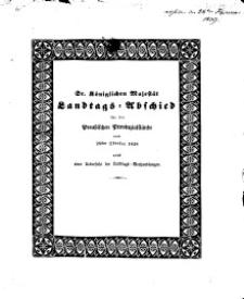 Sr. Königlichen Majestät von Preussen Allergnädigster Landtagsabschied..., 1838