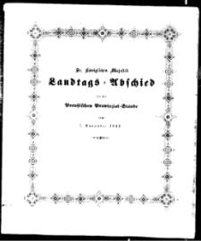 Sr. Königlichen Majestät von Preussen Allergnädigster Landtagsabschied..., 1841