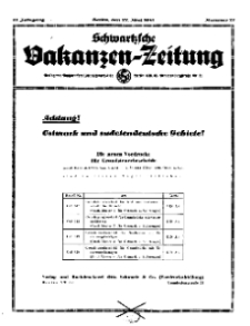 Schwartzsche Vokanzen-Zeitung, Jg. 71, 1941, Nr 21