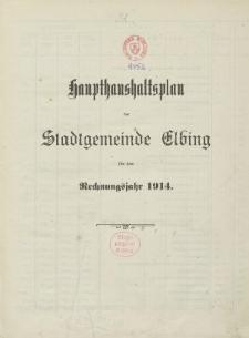 Haushaltspläne der Stadt Elbing 1914