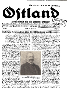 Ostland : Wochenschrift für die gesamte Ostmark, Jg. 11, 1930, Nr 28.