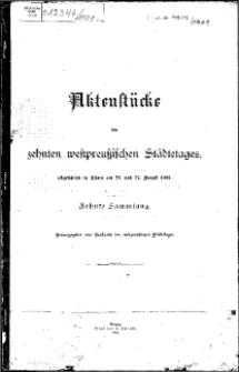 Aktenstücke des zehnten westpreussischen Städtetages...27. August 1901.