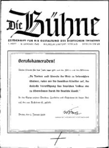 Die Bühne. Jg. [6], 1940, H. 1