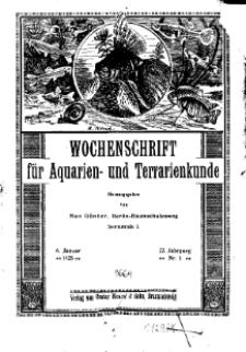 Wochenschrift für Aquarien und Terrarienkunde, 22. Jg. 1925, Nr. 1.