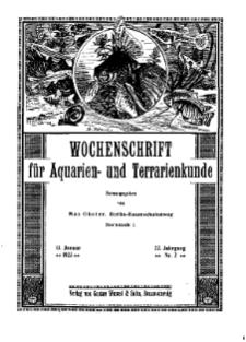 Wochenschrift für Aquarien und Terrarienkunde, 22. Jg. 1925, Nr. 2.