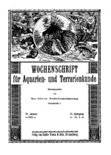 Wochenschrift für Aquarien und Terrarienkunde, 22. Jg. 1925, Nr. 3.