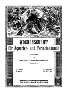Wochenschrift für Aquarien und Terrarienkunde, 22. Jg. 1925, Nr. 4.