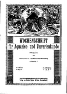 Wochenschrift für Aquarien und Terrarienkunde, 22. Jg. 1925, Nr. 5.