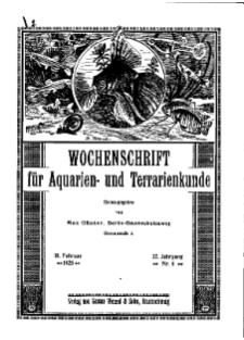 Wochenschrift für Aquarien und Terrarienkunde, 22. Jg. 1925, Nr. 6.