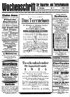 Wochenschrift für Aquarien und Terrarienkunde, 22. Jg. 1925, Nr. 9.