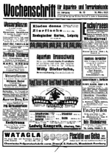 Wochenschrift für Aquarien und Terrarienkunde, 22. Jg. 1925, Nr. 10.