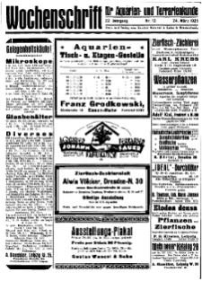 Wochenschrift für Aquarien und Terrarienkunde, 22. Jg. 1925, Nr. 12.