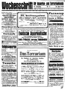 Wochenschrift für Aquarien und Terrarienkunde, 22. Jg. 1925, Nr. 17.