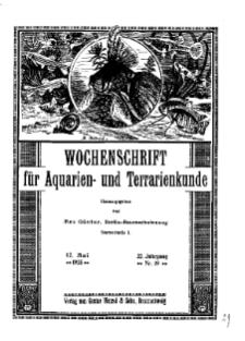 Wochenschrift für Aquarien und Terrarienkunde, 22. Jg. 1925, Nr. 19.