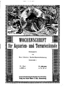 Wochenschrift für Aquarien und Terrarienkunde, 22. Jg. 1925, Nr. 20.