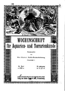 Wochenschrift für Aquarien und Terrarienkunde, 22. Jg. 1925, Nr. 21.