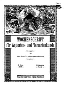 Wochenschrift für Aquarien und Terrarienkunde, 22. Jg. 1925, Nr. 22.