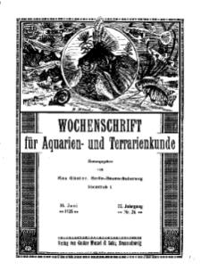 Wochenschrift für Aquarien und Terrarienkunde, 22. Jg. 1925, Nr. 24.