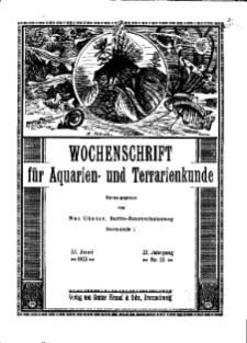 Wochenschrift für Aquarien und Terrarienkunde, 22. Jg. 1925, Nr. 25.