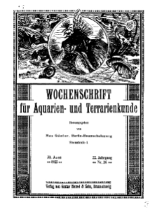 Wochenschrift für Aquarien und Terrarienkunde, 22. Jg. 1925, Nr. 26.