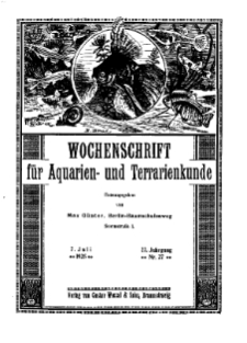 Wochenschrift für Aquarien und Terrarienkunde, 22. Jg. 1925, Nr. 27.