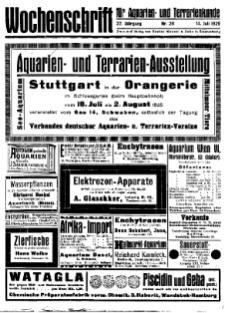 Wochenschrift für Aquarien und Terrarienkunde, 22. Jg. 1925, Nr. 28.