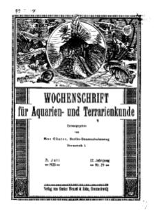 Wochenschrift für Aquarien und Terrarienkunde, 22. Jg. 1925, Nr. 29.