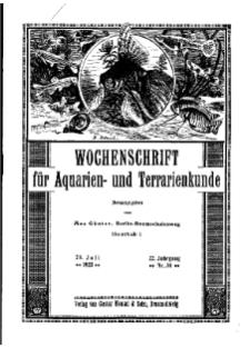 Wochenschrift für Aquarien und Terrarienkunde, 22. Jg. 1925, Nr. 30.