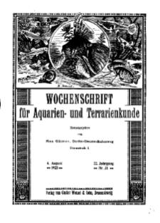 Wochenschrift für Aquarien und Terrarienkunde, 22. Jg. 1925, Nr. 31.