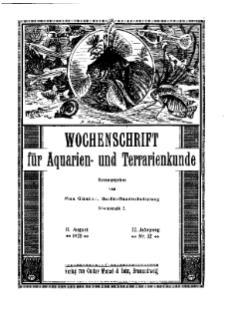 Wochenschrift für Aquarien und Terrarienkunde, 22. Jg. 1925, Nr. 32.
