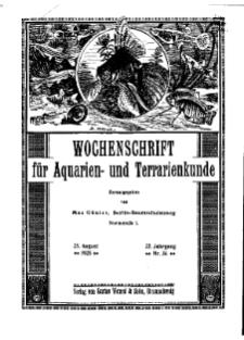 Wochenschrift für Aquarien und Terrarienkunde, 22. Jg. 1925, Nr. 34.