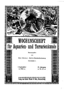 Wochenschrift für Aquarien und Terrarienkunde, 22. Jg. 1925, Nr. 35.
