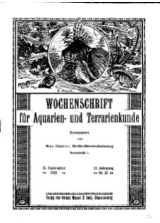 Wochenschrift für Aquarien und Terrarienkunde, 22. Jg. 1925, Nr. 37.