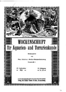 Wochenschrift für Aquarien und Terrarienkunde, 22. Jg. 1925, Nr. 38.