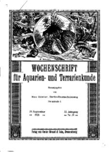 Wochenschrift für Aquarien und Terrarienkunde, 22. Jg. 1925, Nr. 39.