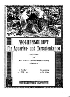 Wochenschrift für Aquarien und Terrarienkunde, 22. Jg. 1925, Nr. 40.