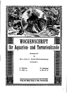 Wochenschrift für Aquarien und Terrarienkunde, 22. Jg. 1925, Nr. 41.