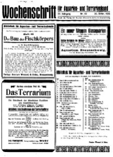 Wochenschrift für Aquarien und Terrarienkunde, 22. Jg. 1925, Nr. 42.