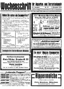 Wochenschrift für Aquarien und Terrarienkunde, 22. Jg. 1925, Nr. 44.