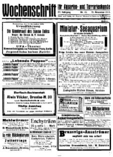 Wochenschrift für Aquarien und Terrarienkunde, 22. Jg. 1925, Nr. 45.