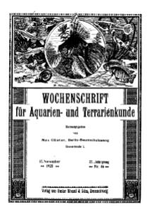 Wochenschrift für Aquarien und Terrarienkunde, 22. Jg. 1925, Nr. 46.