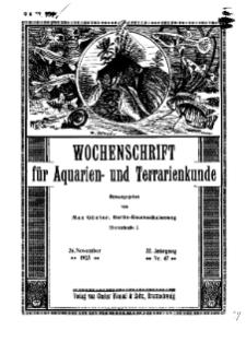 Wochenschrift für Aquarien und Terrarienkunde, 22. Jg. 1925, Nr. 47.