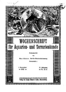 Wochenschrift für Aquarien und Terrarienkunde, 22. Jg. 1925, Nr. 48.