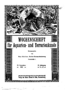 Wochenschrift für Aquarien und Terrarienkunde, 22. Jg. 1925, Nr. 52.