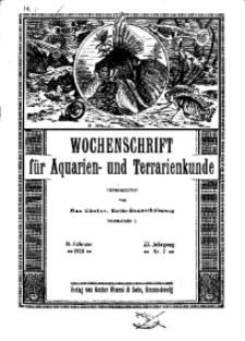 Wochenschrift für Aquarien und Terrarienkunde, 23. Jg. 1926, Nr. 7.